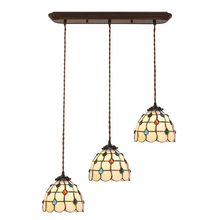 European Nordic Vintage Stained Glass Farmhouse Kitchen Dining Room Led Hanging Pendant Light Lamp E27 Bulb Tabletop Lighting