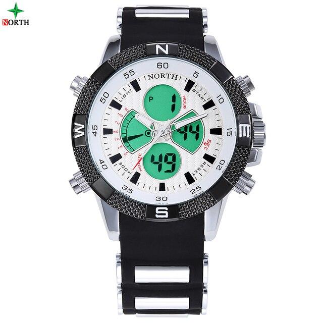 LED Digital Men Sport Watch Multifunction Analog Male Military Watch Waterproof Round Quartz Silicone Dual Display Wristwatches