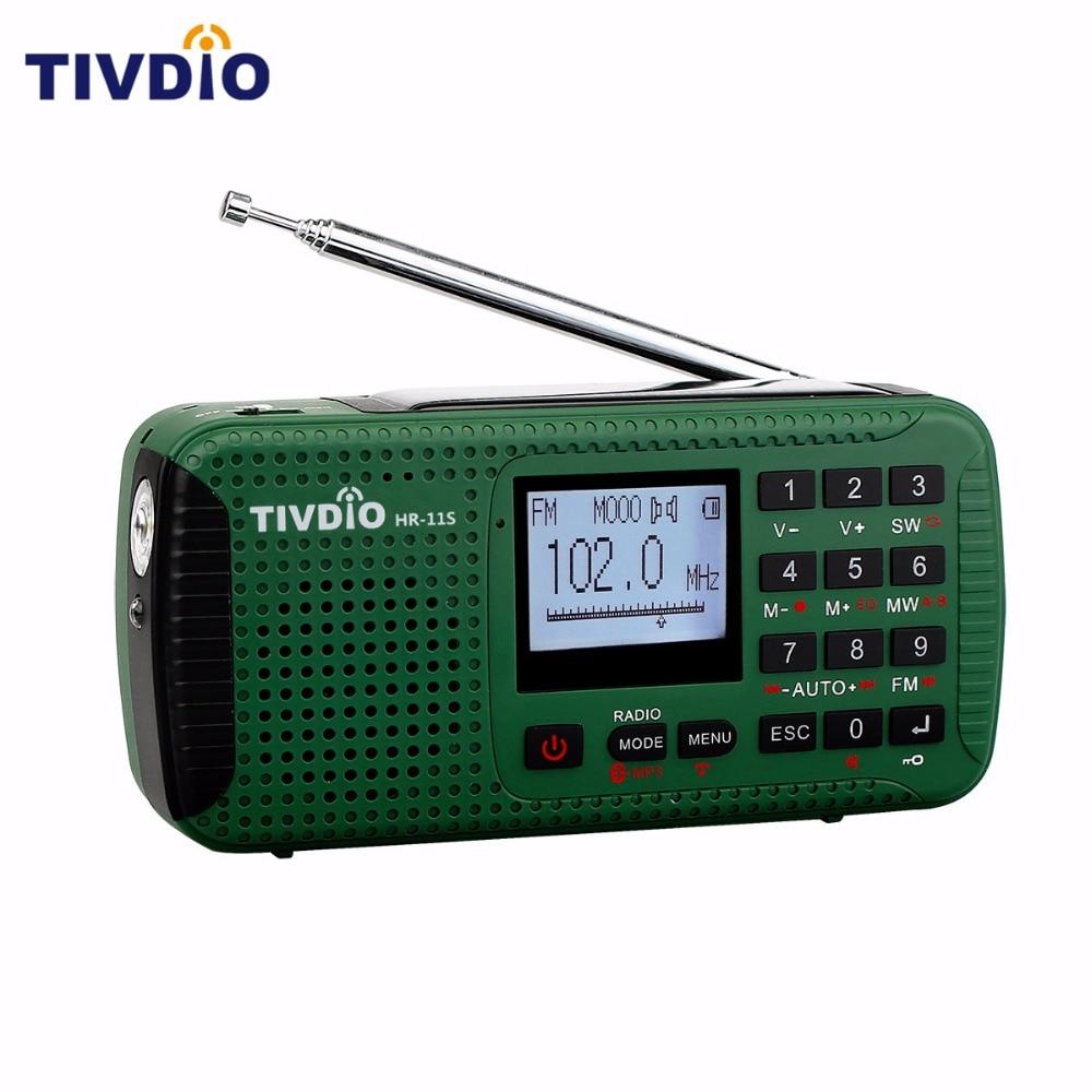 TIVDIO HR-11S Digital Recorder Portable FM/MW/SW Hand Crank Solar Emergency Alert Radio Station Bluetooth Music Player F9208G old version degen de1103 1 0 ssb pll fm stereo sw mw lw dual conversion digital world band radio receiver de 1103 free shipping