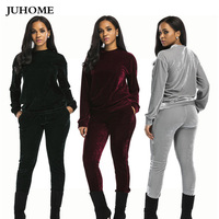 autumn winter thick Velvet jumpsuits for women 2018 long sleeve warm big size fitness 2 piece velours sets rompers big/plus size