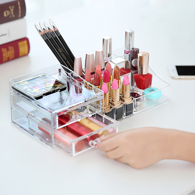 Clear Acrylic Cosmetic Organizer Makeup Drawer Organizer Lipstick Liner  Brush Lip Gloss Holder With Drawer Jewelry