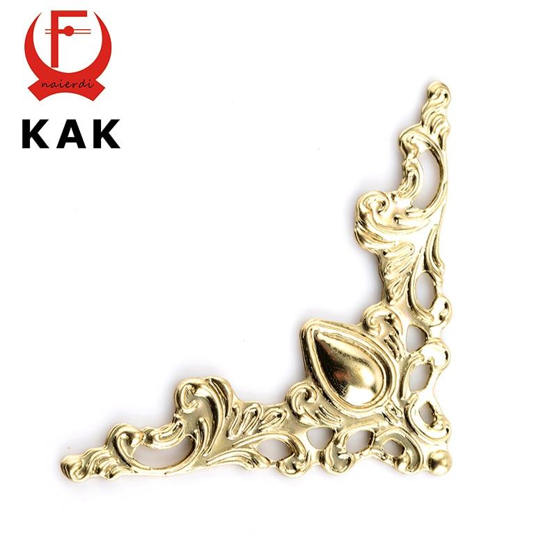 30 pièces KAK Coin D'angle en Métal Supports Or Bronze 40mm Couverture De Cahier Pour Les Menus Cadre Photo Décoratif De Meubles Protecteur