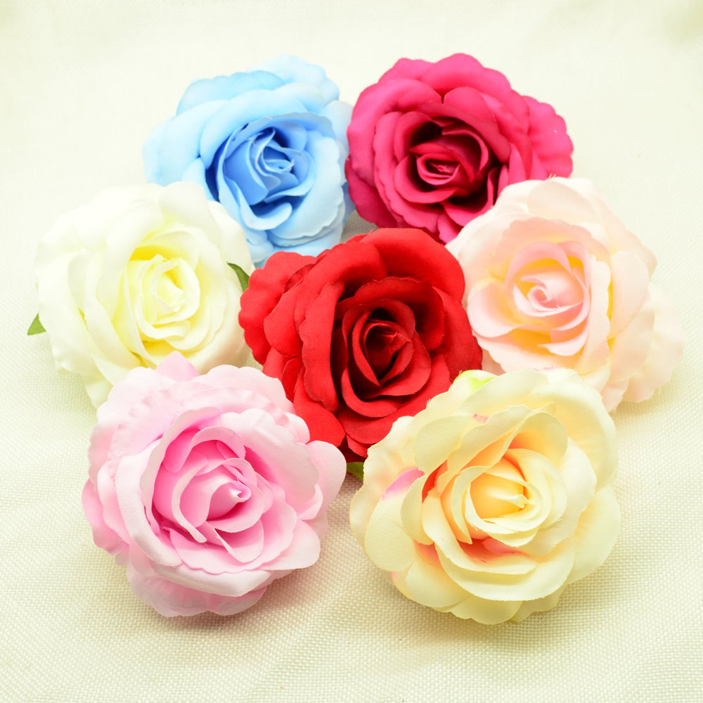 100pcs 10cm high Silk roses Artificial flowers for christmas home wedding decor accessories diy gifts box