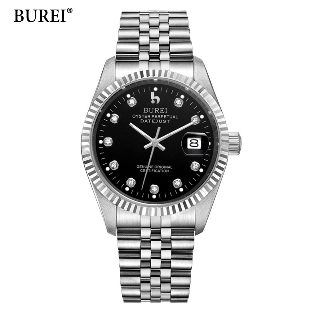 2017 New Mens Watches Top Brand Luxury Logo BUREI Automatic Clock Stainless Steel Waterproof Business Mechanical Wrist Watch