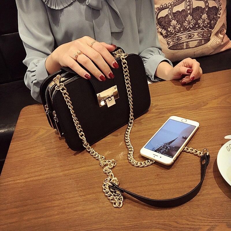 Women's Fashion Handbag Three Layer Shoulder Bag Messenger Bag Vintage Popular Mobile Phone Small Bag Chain Bag Black Color