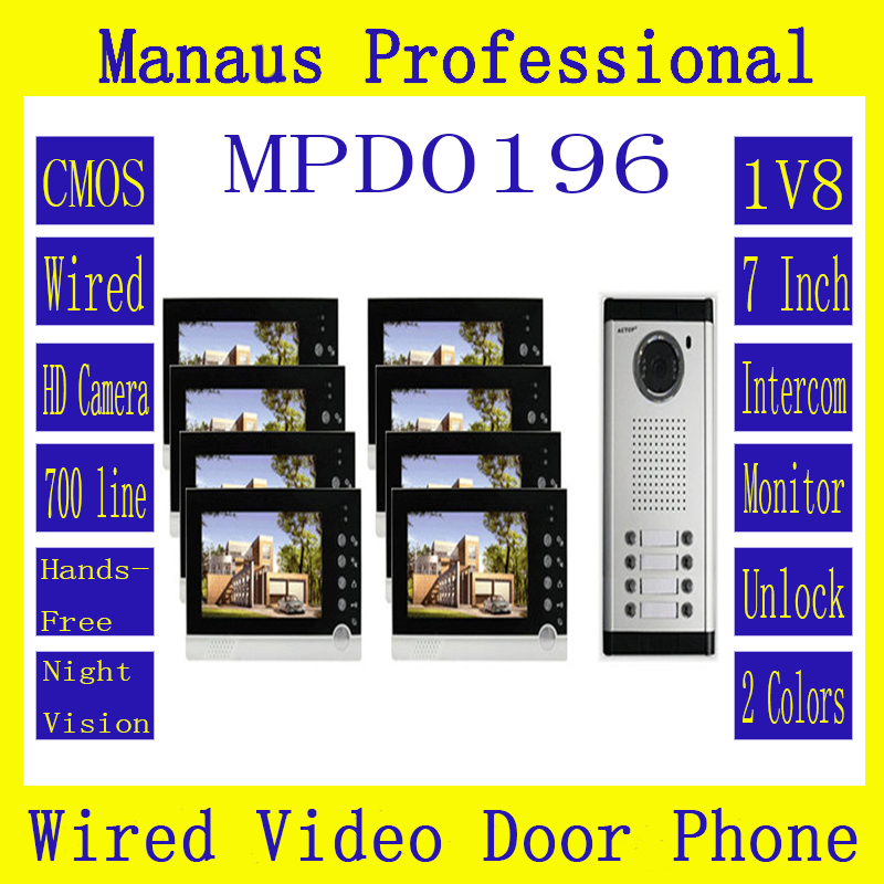 High Quality Smart Home 1V8 Intercom System One To Eight Video Doorbell 7 Inch Display 6 IR Lamps Cable Visible Interphone D196b
