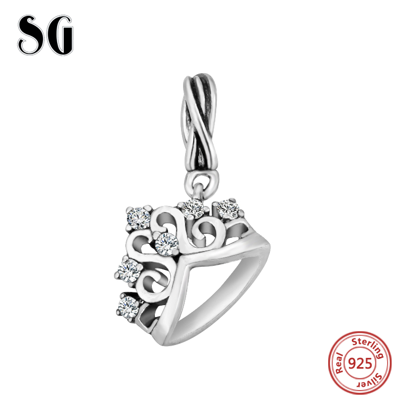100% Real 925 Silver Fit Authentic pandora charms beads Original Queen Charms Collect Bead vintage jewelry making women Gifts