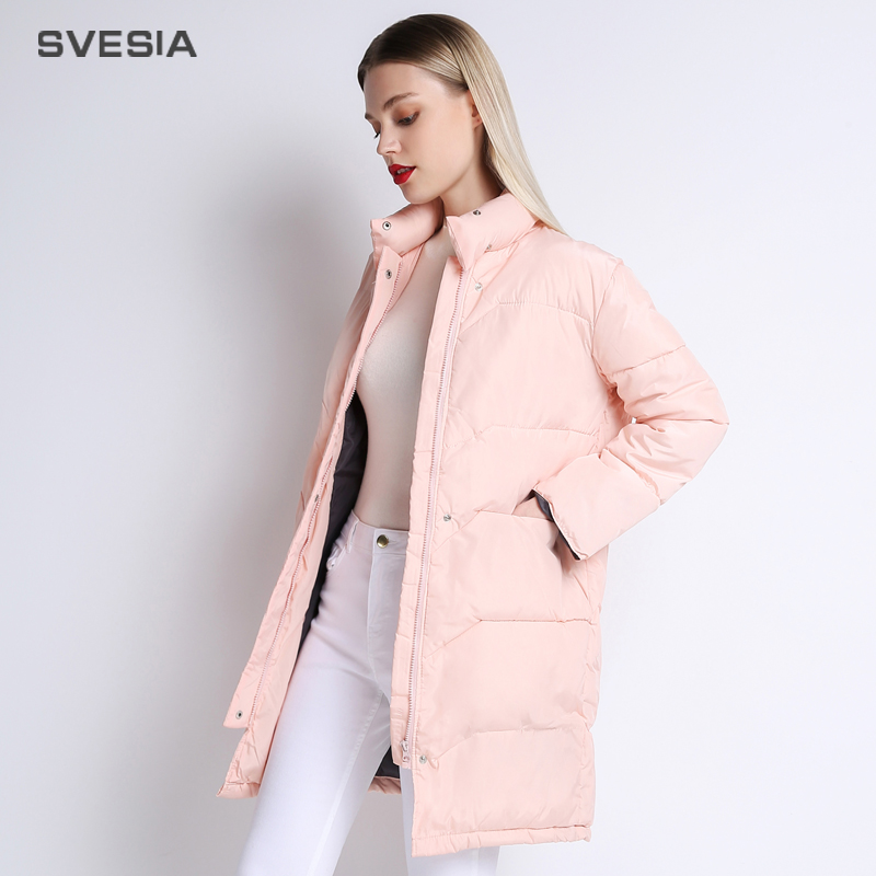 SVESIA Winter Jacket Women 2018 Knee Length Pink Coat Camperas Mujer Abrigo Invierno 2018 Female Overcoat   Parkas   For Women