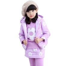 [ Sashine дети ] детей девочек одежда для зимы цветочным узором 2 — 10 лет девочка устанавливает сгущает руно жилет + пальто + брюки костюмы