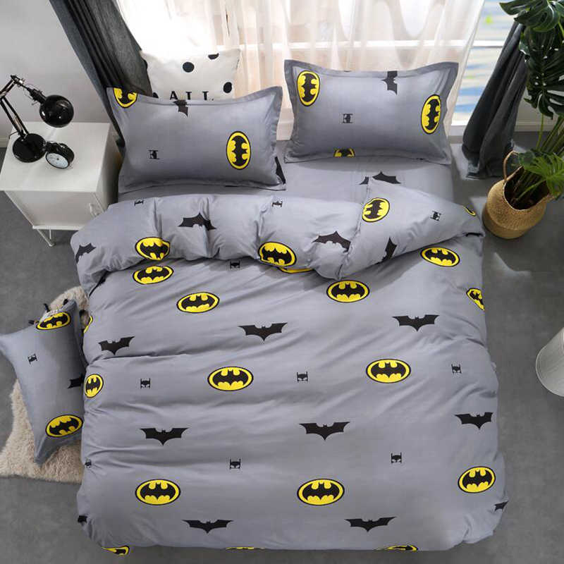 Cartoon Batman Bedding Sets Soft Kids Duvet Cover Set Quilt cover Bed Set Single King Double Butterfly Elk Gray bedclothes