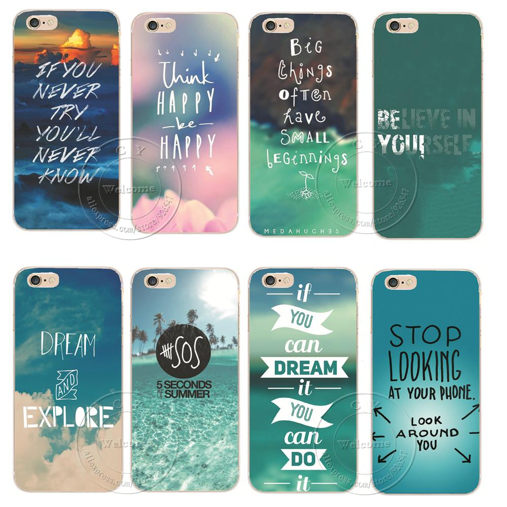 Think Happy be Happy Hard Plastic Back Case Cover For Coque Apple iPhone X XS Max XR 4 4S 5 5S SE 5C SE 6 6S 7 8 Plus 8Plus
