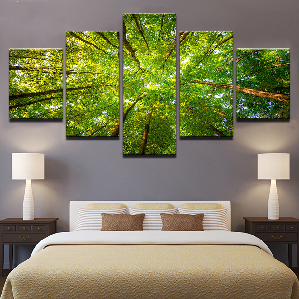 Home Decor Canvas Pictures Framework HD Prints Poster 5 Pieces Green Sunshine Woods Trees Paintings Modular Living Room Wall Art no frame canvas