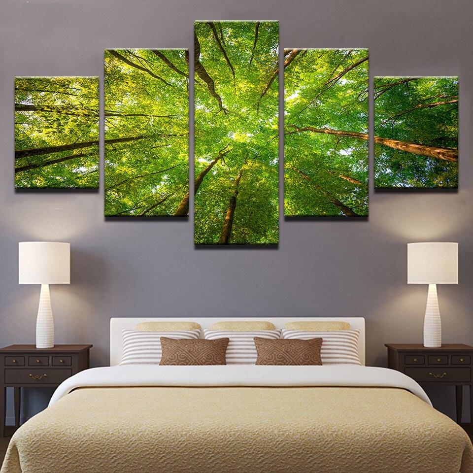 Inicio decoración lienzo cuadros marco HD imprime 5 unidades verde maderas Sunshine árboles pinturas modulares arte de la pared de la Sala