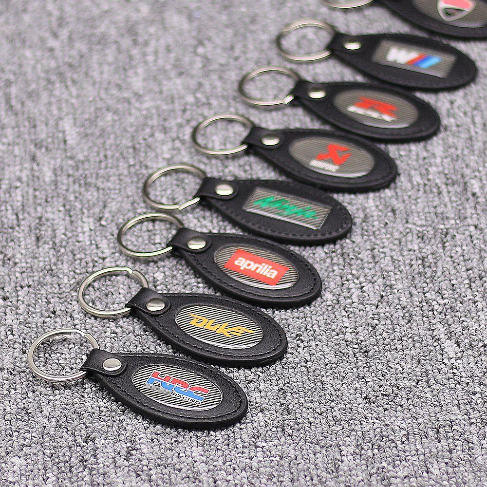 Motorcycle Collectable PU Carbon Look Keyring Keychain For Aprilia Suzuki Kawasaki Honda KTM BMW Ducati Key Ring Chain