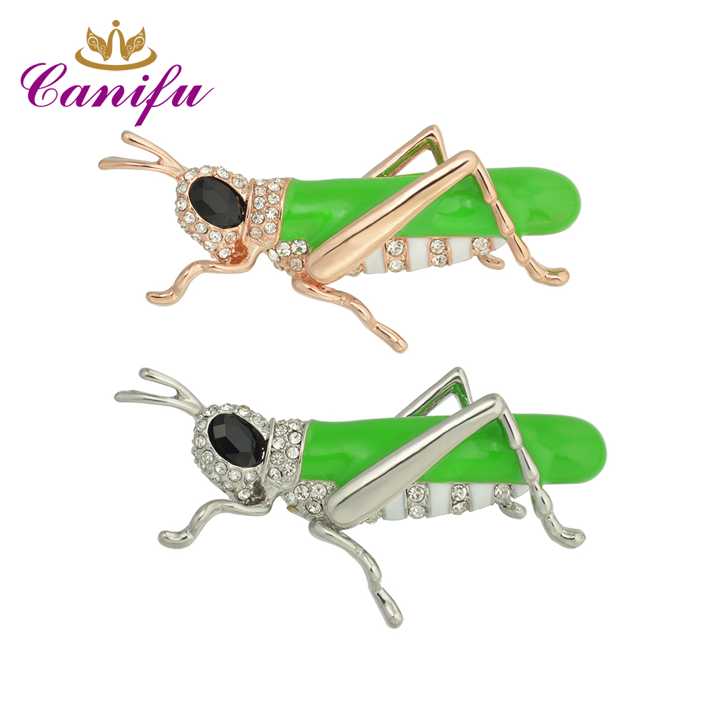 Canifu New arrival  Rose Gold Color or White gold  Lovely grasshopper Brooches  Rhinestones brooch pin Party gifts
