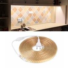 220 В Светодиодная лента 2835 SMD Водонепроницаемая светодиодная лента RGB Диодная лента 5 м 10 м 15 м 20 м 25 м DIY гирлянда подсветка светильник для полки на кухню