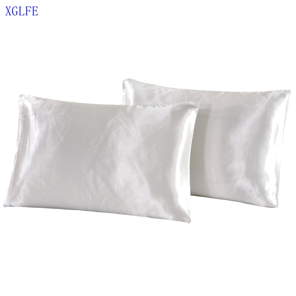 LISM pillow case satin silk pillowcase bed pillow cover black/white/golden/silver/pink/blue/purple sham cover