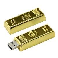 Real Capacity Gold Bar USB 3.0 Flash Memory Drive Stick Disk Key 64GB 8GB 32GB USB Flash Drive PenDrive 16GB 4GB Gift