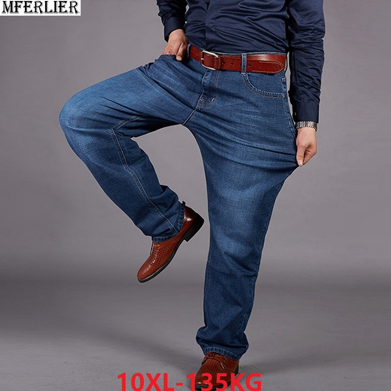 men   jeans   large size big 10XL Trousers office pants high waist Elasticity straight 7XL 8XL 9XL loose   jeans   autumn winter Stretch