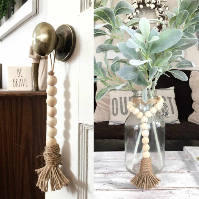 Home Wind Chimes Tassle Farmhouse Beads Natural Wood Bead Garland Nordic Style Kids Decoration