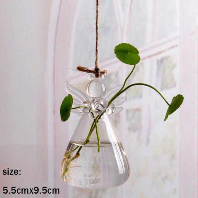 Cute Glass Angel Shape Flower Plant Hanging Vase Home Office Wedding Decor Clear Glass Flower Plant Angel 5