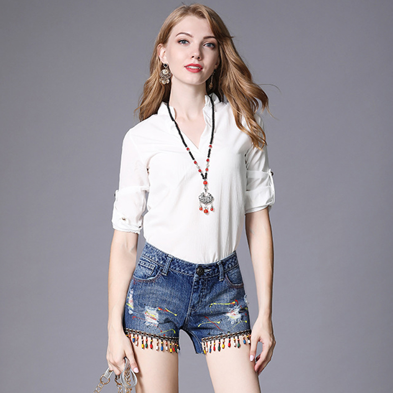 JTCY New Women Denim Shorts Beading Bohemian Tassel Button Zipper Shorts Jeans Leisure Women Summer Straight Jeans