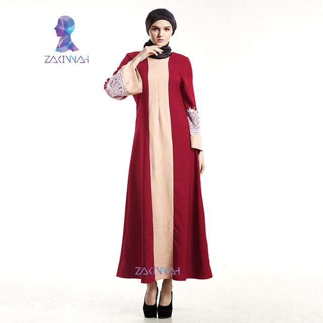 Zakiyyah nova chegada moda vestido de emenda cor manga comprida lace muçulmano abayas islâmico para as mulheres vestido frete grátis