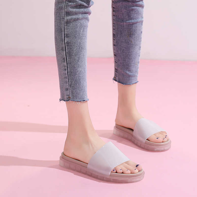HEE GRAND New Jelly Slides Women Flat Slippers Platform Candy Color Slip On Soft Bottom Casual Shoes Woman Flip Flops XWT1853
