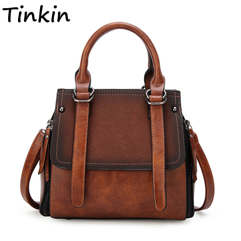 Tinkin PU mulheres de couro bolsa sacola com painéis de pedra das mulheres do vintage ombro saco saco do mensageiro