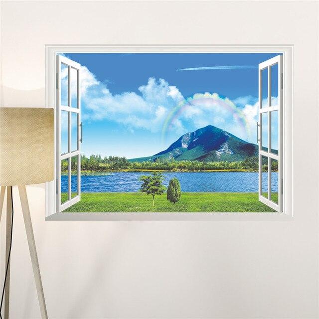 Aliexpresscom Buy Natural Sea Mountain Rainbow Scenery D - 3d window wall decals