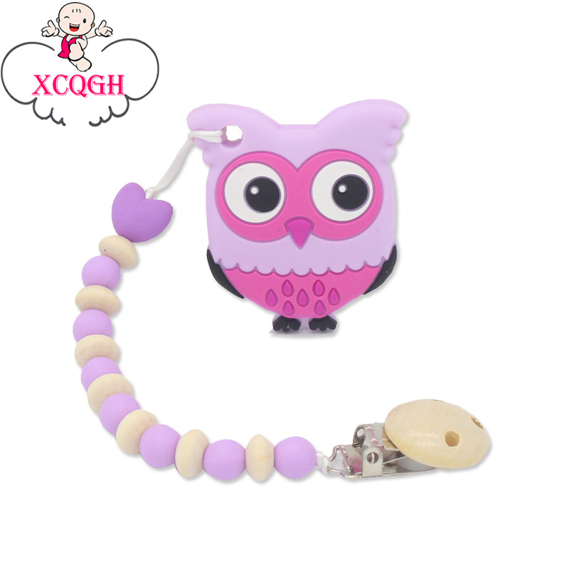 XCQGH Silicone Teether Pacifier Owl BPA Free Baby Colorful Silicone Beads Nipple Holder Pacifier Clips Soother Chain For Baby