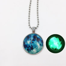 Glow In The Dark Moon Necklace 14mm Galaxy Planet Glass Cabochon Pendant Necklace Silver Chain Luminous Jewelry Women Gifts(China)