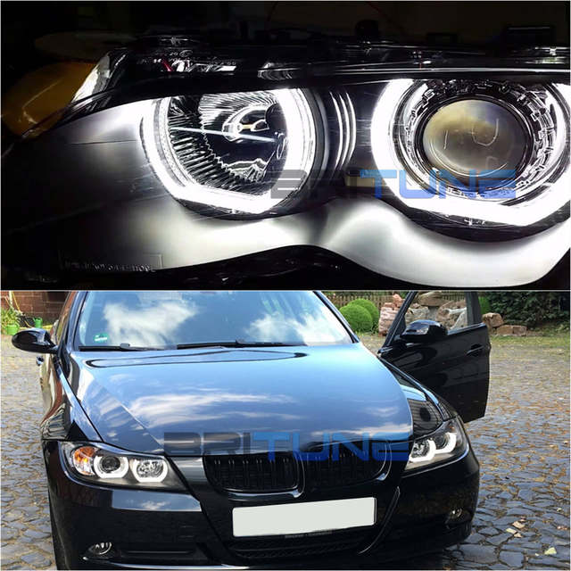 DRL LED Angel Eyes For BMW E90 E60 E82 E88 E87 E81 Xenon Headlight DIY  Retrofit DTM Style White Yellow Turn Signal 105mm/120mm