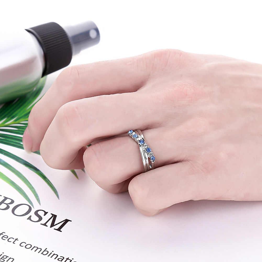Clásico luz azul Cruz anillo moda blanco y negro oro relleno joyería Vintage anillos de boda para mujeres cumpleaños piedra regalos