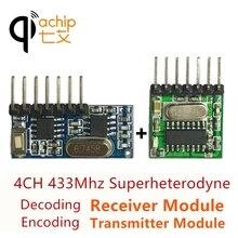 Transmissor e receptor decodificador sem fio qiachip, 433mhz, ampla tensão, 4 ch, módulo de saída para controle remoto de 433.92 mhz diy