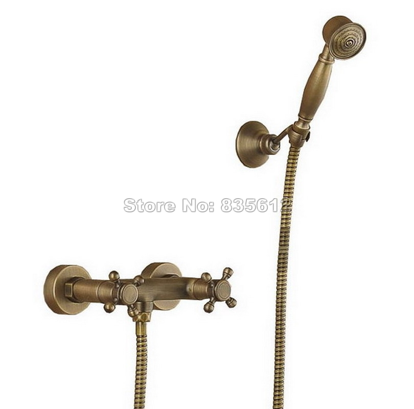 Retro Bathroom Dual Handle Shower Faucet Set Antique Brass Finish Wall Mounted BHandheld Shower Spray Mixer Taps Wrs016 wall mount 10 inch thermostatic bathroom shower faucet mixer taps dual handle with hand held shower chrome finish