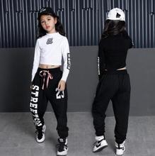 Niños Hip Hop ropa 2 piezas Girls manga larga Tops y pantalones de traje  niños Jazz Dance ropa para niñas Streetwear 60b6ca49521