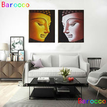 modern abstract fashion oil painting on canvas for home decoration gold budha head  free shipping