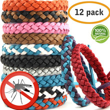Mosquito Bracelets, set of 12 Leather Bracelets Repellent Insects for Adult Kids Waterproof