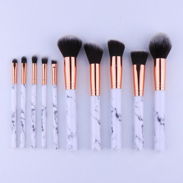 10Pcs/Set Professional Makeup Brushes Marbling Handle Eye Shadow Eyebrow Lip Eye Make Up Brush Comestic Tools HJL2017