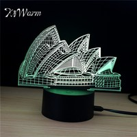 KiWarm 3D Sydney Opera House Design Novelty Light Lampada Led Table Lamp Bulbing Colorful Night Light