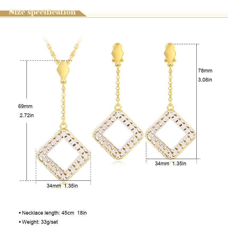 Sunny Schmuck Mode Schmuck 2019 frauen Halskette Ohrringe Anhänger Schmuck Sets Stern Platz Hohlen Maxi Dubai Schmuck-Sets