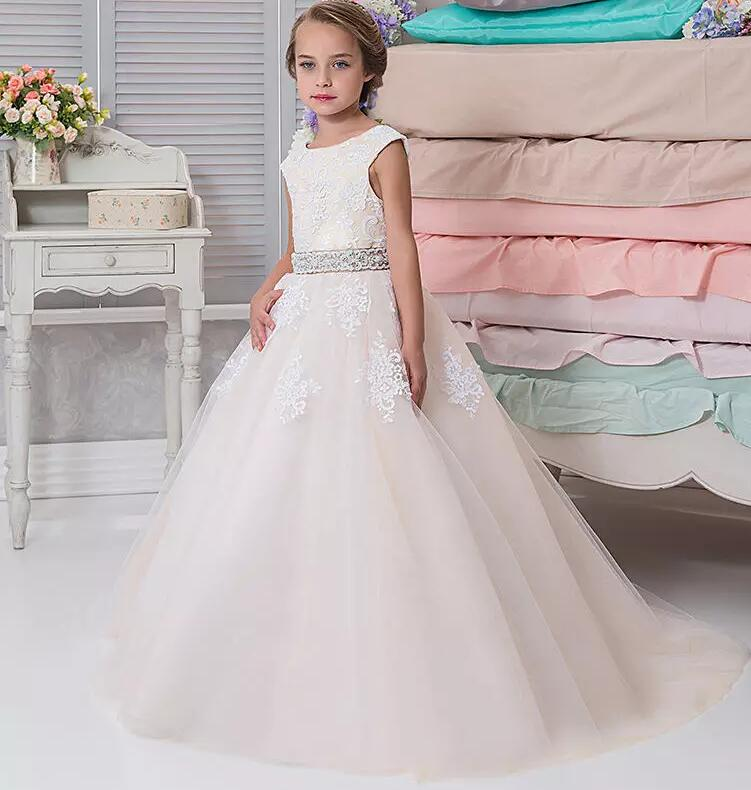 High Quality Customized Flower Girl Dresses For Wedding With Lace Appliques Beaded Belt Little Girls Pageant Dress Custom  High Quality Customized Flower Girl Dresses For Wedding With Lace Appliques Beaded Belt Little Girls Pageant Dress Custom