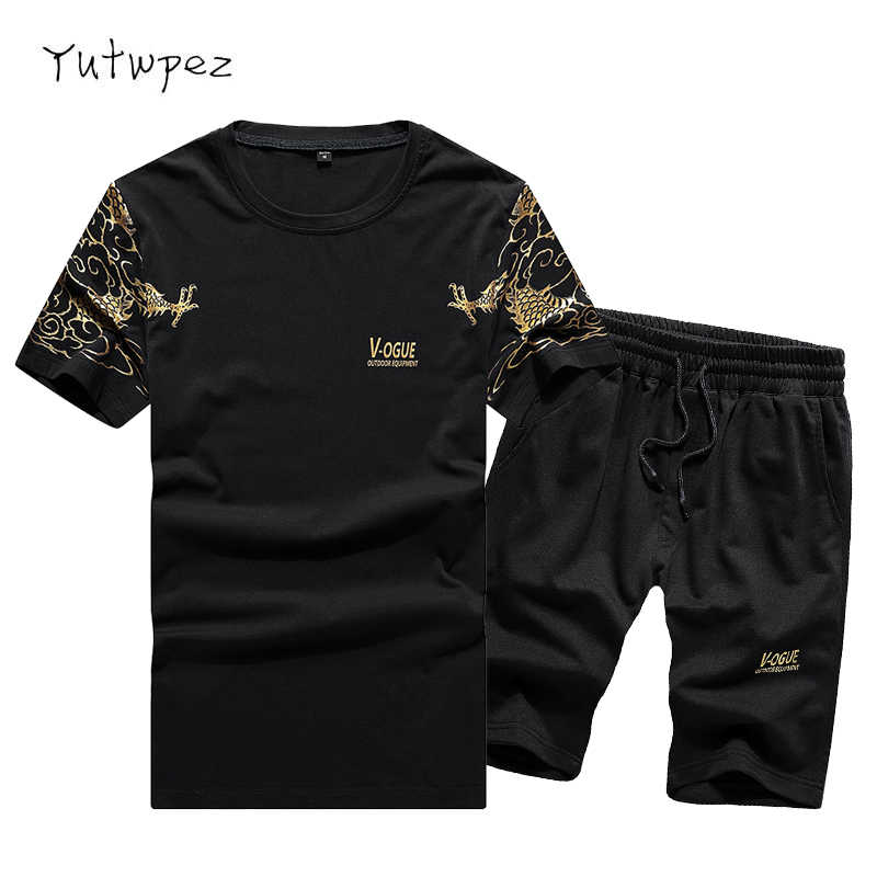 Europe Size Tracksuit Men Sets Pants Summer Men's Cropped T Shirt Shorts Casual Suits Sportswear Mens Clothing Male Sweatshirt