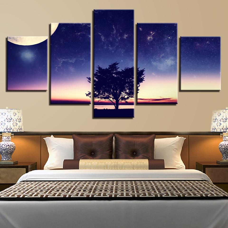 Landscape Canvas Prints Tree Night star Moon Wall Art Painting Home Decor