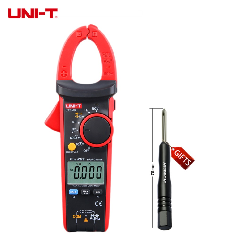High Sensitivity LCD UNI-T UT216B 600A True RMS Digital Clamp Meters Auto Range w/ NCV V.F.C. & Frequency Tester  Multimetro uni t ut233 lcd multimetro digital tensao amperimetro tester frequencia 3 phase power clamp meter 1000a 600 v fator