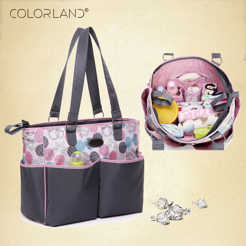 COLORLAND Baby stroller Mummy Maternity nappy Diaper Bag Organizer baby Bags Handbag For Moms bolsa maternidade bolso maternal nawo real genuine leather women wallets brand designer high quality 2017 coin card holder zipper long lady wallet purse clutch