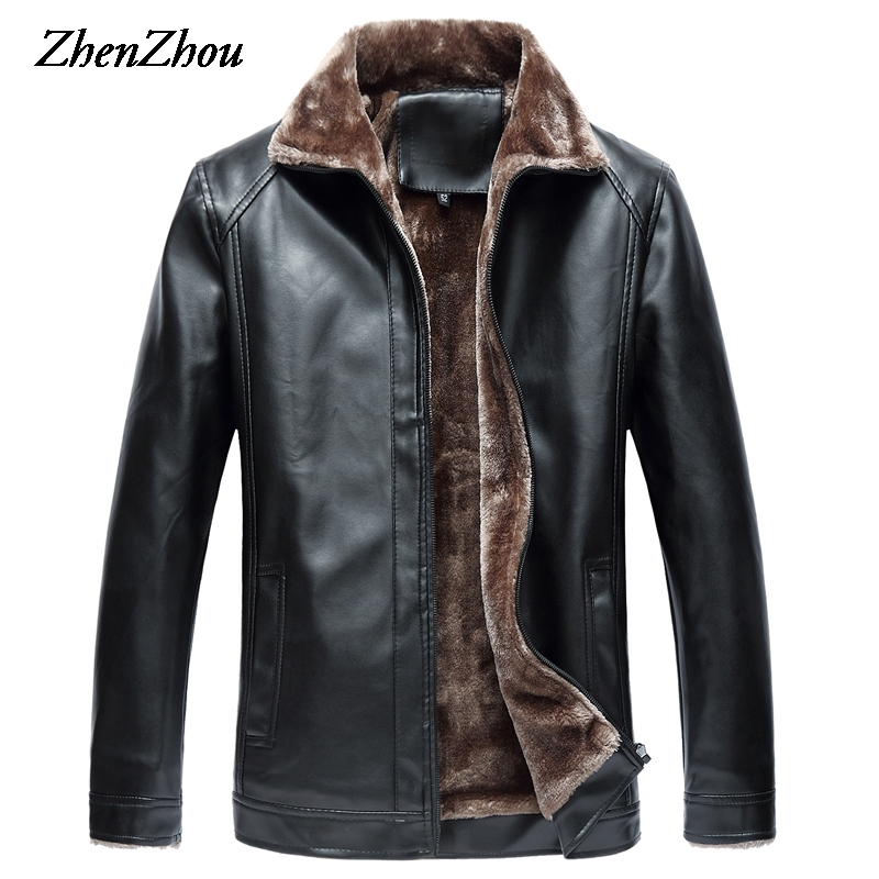 Casual Solid Leather Jacket Mens Coat Black 2017 Mens Winter Jacket Men Leather Jackets Male Business Plus Size Top Quality free shipping brand a2 style leather clothing plus size man s 100% genuine leather jackets classics mens engraved jacket quality
