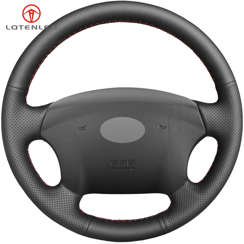 LQTENLEO Black Genuine Leather Car Steering Wheel Cover For Hyundai Azera 2005 2010 Sonata NF NFC 2005 2010 Kia Carens 2007 2011-in Steering Covers from Automobiles & Motorcycles    1