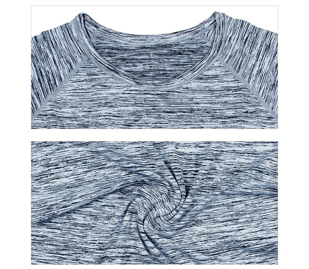 T-shirt de sport pour femme gris, top, maillot, yoga fitness pilâtes gym, détail gros plan